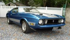 This is a beautifully restored Medium Blue 1973 Mach-1 Mustang fastback. Description from mustangattitude.com. I searched for this on bing.com/images