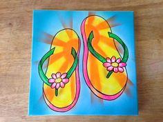Original Flip Flop Painting by MpressArt on Etsy, $29.00
