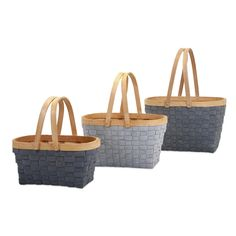 Features:  -Set includes 3 baskets.  Product Type: -Basket.  Quantity: -Set.  Style (Old): -Country/Cottage/Traditional.  Primary Material: -Wicker/Rattan.  Hanging: -Yes.  Nesting: -Yes.  Color: -Gra