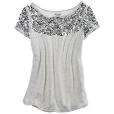 Aerie Sequin Sweatshirt (10.495 CLP) ❤ liked on Polyvore featuring tops, hoodies, sweatshirts, shirts, t-shirts, blusas, heather grey, long length shirts, shiny shirt and american eagle outfitters shirts