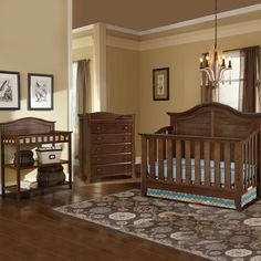 Thomasville 3 Piece Nursery Set - Southern Dunes Lifestyle Crib, Dressing Table and Avalon 5 Drawer Dresser in Dove Brown - Click to enlarge