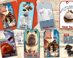 Secret Life Of Pets Thank You Tags-Secret Life Of Pets Birthday Party-Secret Life Of Pets Invitation-Secret Life Of Pets Supplies- Birthday Thank You, 7th Birthday, Birthday Ideas, Birthday Parties, Movie Party, Party Time, Pets Movie, Secret Life Of Pets, Thank You Tags