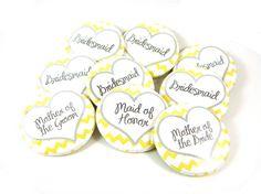 Custom Wedding Party Buttons Chevron Design (Set of 10) 1.5 inch Pinback Buttons - Bridesmaids, Bachelorette Party, Flower Girl