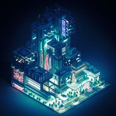 Sci-Fi City - Voxel Art Animation on Behance City Painting, Oil Painting Abstract, Oil Painting Flowers, Game Design, Web Design, Isometric Art, Isometric Design, Cyberpunk City, Futuristic City