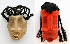 deluge derivate chortle african tribal head sculpture from recycled milk bottles Cool Masks, African Artists, So Creative, African Masks, Mask Making, Halloween Diy, Art Inspo, Arts And Crafts, Container
