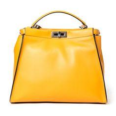 Fendi Large Peekaboo ($4,700) ❤ liked on Polyvore featuring bags, handbags, kirna zabete, spring bag edit, yellow leather handbag, satchel handbags, leather tote bags, leather satchel and yellow handbag