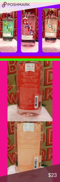 Bath & Body Works shower gel bundle. Christmas Set Lot of 3 Bath and Body Works Shower gels. Winter candy apple, vanilla bean Noel, and coconut mint drop. All 3 brand new and unused. If you would like to substitute for any different scents, let me know and I will create a custom bundle just for you! Other