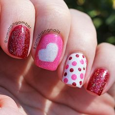 Valentine Day Nail Art idea -Red and Pink