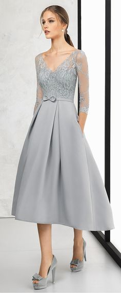 Absorbing Lace & Satin V-neck Neckline 3/4 Length Sleeves Hi-lo A-line Prom Dress With Sash & Bowknot