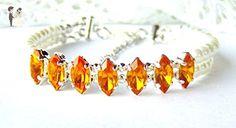 Golden yellow rhinestone and white simulated pearl double strand bracelet - Wedding bracelets (*Amazon Partner-Link)