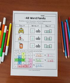 Word Family Worksheets distance learning packets for kindergarten Writing Resources, Learning Resources, Teacher Resources, Teaching Ideas, Classroom Activities, Phonics Activities, Easter Activities, Cvc Word Families, Family Worksheet