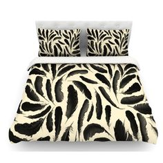 East Urban Home Feather by Skye Zambrana Featherweight Duvet Cover Size: Queen, Color: Beige/Black