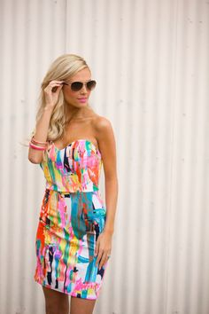 """Splash of Color Dress - Pink from Closet Candy Boutique Code """"repjennifer""""=10% off and FREE shipping!"""