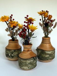 log vases