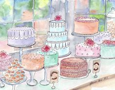 Cake Watercolor Painting - Colorful Food Art Illustration Still Life Watercolor Painting - 5x7 Print