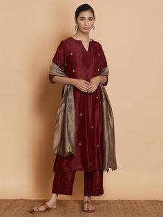 Burgundy Hand Embroidered Chanderi Silk Suit with Grey Dupatta - Set of 3 Embroidery On Kurtis, Kurti Embroidery Design, Silk Suit, Silk Pants, Kurti Patterns, Dress Patterns, Pakistani Dresses, Indian Dresses, Chanderi Suits
