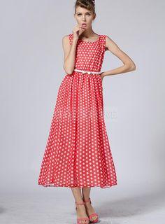 Perfect Retro Dot Print  Maxi Dress #Tidestore #TidestoreFashion #LongDresses