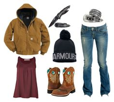 """""""Truck Pulls"""" by im-a-jeans-and-boots-kinda-girl ❤ liked on Polyvore featuring GUESS, Ariat, Under Armour, Carhartt, Schumacher and country"""
