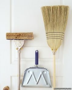 "Using tool hooks (sold at hardware stores), hang them with their ""business ends"" up. A dustpan, too, should be kept off the floor; hang it from the hole in its handle."