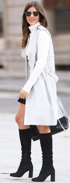 Light Gray, White And Black Fall Streetstyle Inspo by TrendyTaste