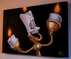 Disney's Beauty and the Beast Lumiere the candlestick Acrylic Painting on Box Canvas by GatsbyandJim