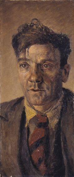 Clive Branson 'Portrait of a Worker' 1930. Portrayal of a working man, untidy clothes, messy hair, unshaven and a lived in face.