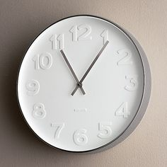 """CRATE AND BARREL EMBOSSED NUMBERS 15"""" CLOCK"""