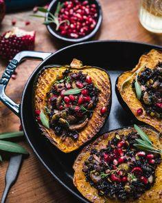 Mushroom, Kale, and Wild Rice Stuffed Acorn Squash