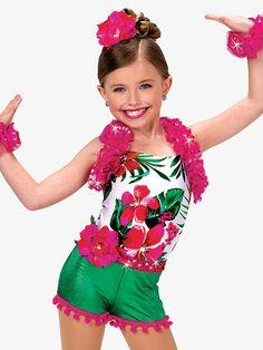 "A Wish Come True Girls ""Caribbean Jam"" Character Dance Costume Halter Leotard"