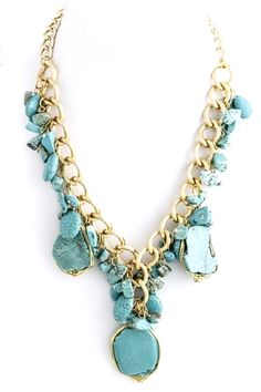 Natural Turquoise Stone Necklace by Paizlee | Paizlee