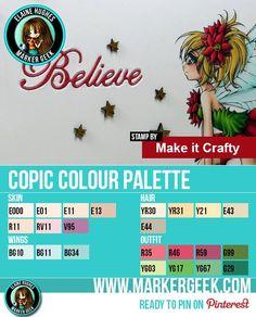 Make it Crafty Fairy Poinsettia Copic Marker Colour Palette - ww.markergeek.com