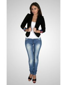 Cropped Jacket with Contrast Sleeve