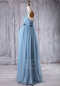 2016 Dusty Blue Chiffon Maternity Bridesmaid Dress by RenzRags
