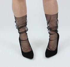 Black Seam Tulle Sheer Socks Black Seam Stockings Black Seam