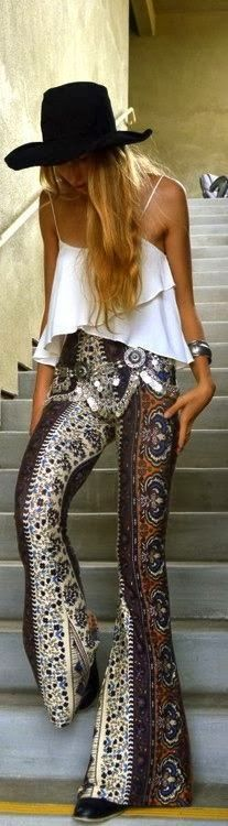 Street style, new gypsy grunge fashion trends, boho chic layered top and print hippie palazzo pants. For the BEST  modern Bohemian looks FOLLOW http://www.pinterest.com/happygolicky/the-best-boho-chic-fashion-bohemian-jewelry-gypsy-/ by @HappyGoLicky Custom Silver Jewelry on Etsy Custom Silver Jewelry on Etsy