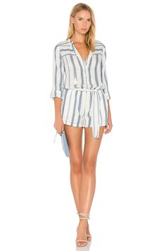 PAIGE Raleigh Romper in White & Blue Shadow