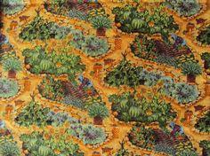 """Tissu patchwork printemps """"scènes de cultures au jardin"""""""