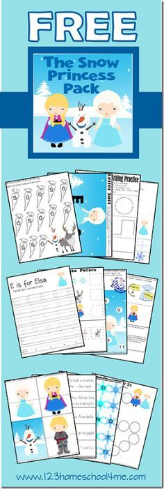 ♥️ FREE Disney Frozen Inspired Worksheets ♥️ in The Snow Princess Pack! Fun themed worksheets for toddler, preschool, kindergarten, 1st grade, and 2nd grade kids!