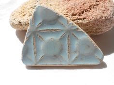 Old big sea pottery in sky blue, Greek sea pottery finding, beach pottery supply by BeniciaSeaglass on Etsy