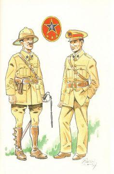 GUARDIA COLONIAL DEL GOLFO DE GUINEA.1935   Capitan en uniforme de formación para diario - Teniente en uniforme de diario.