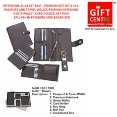 ffaccfb43 Leather Wallets · 6 in 1 Premium gift set. Passport holder travel wallet  Notebook Gents wallet Card holder