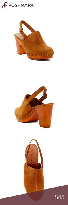 """Lucky Brand Vivelle High Heel Brand new never worn. Sizing: True to size.   - Round toe - Solid vamp - Studded trim - Buckle slingback strap - Approx. 3.5"""" heel, 1"""" platform - Imported Materials: Suede upper, manmade sole Lucky Brand Shoes Mules & Clogs"""