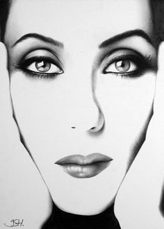 Cher Pencil Drawing Fine Art Portrait Print Signed by IleanaHunter,