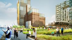 Image 1 of 5 from gallery of Domino Sugar Factory Master Plan Development / SHoP Architects. Landscaping Tips, Garden Landscaping, Shop Architects, Landscape Plans, Landscape Designs, Waterfront Homes, Affordable Housing, Urban Farming, Master Plan