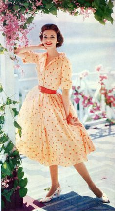 orange polka dot vintage dress from Ladies' Home Journal 1958