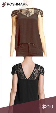 Nightcap lace yoke silk top Cap lace sleeves silk top Nightcap Tops Blouses