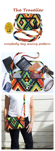 Here is a PDF Sewing pattern for The Traveller multi-pocket crossbody bag. You can make yourself this great travel bag which has a generous amount of storage space with lots of organizer pockets. And while you are making the bag you may get to learn a new skill as the bag includes all types of pockets - zipped, jetted, patch, bellow - with instructions on how to sew each of the different styles of pockets.