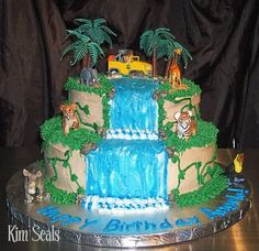 An easy guide to making a Diego Jungle Cake. Jungle Birthday Cakes, 2 Tier Birthday Cakes, Jungle Cake, Safari Birthday Party, First Birthday Cakes, Birthday Cake Toppers, Birthday Fun, Birthday Ideas, Birthday Parties