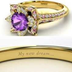 Tangled themed ring! But I would want a different ring that was simple and then have that inscription