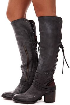 Black Leather Tall Lace Up Boot #MustHave #PairUpEssential
